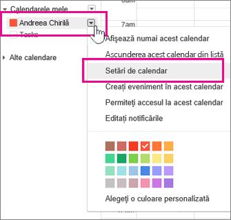 setările calendarului google