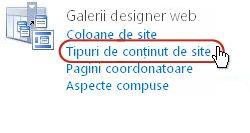 Linkul Tipuri de conținut de site sub Galerii