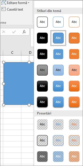 Galeria de stiluri de forme afișând noile stiluri presetate în Excel 2016 pentru Windows