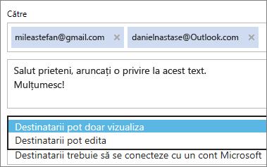 Alegerea opțiunile necesare doar pentru vizualizare și conectare în e-mail cu invitația