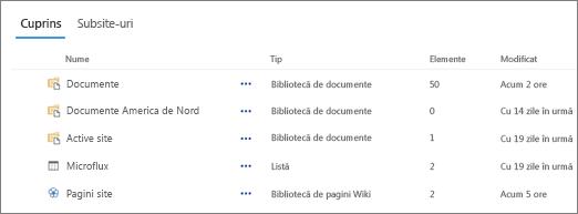 Secțiunea de conținut pe pagina conținut Site