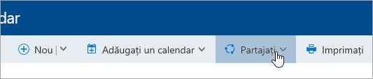 Captură de ecran a butonului Partajare calendar de pe bara de navigare.
