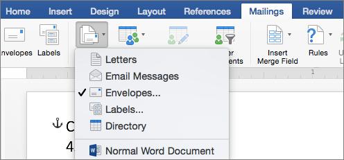 Pe fila corespondență, selectați plicuri din lista pornire îmbinare corespondență
