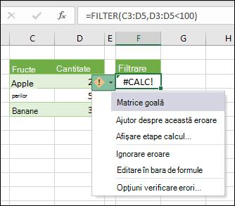 #CALC! eroare-matrice necompletată