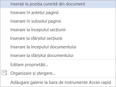 Comenzile de blocuri componente în Galeria tabele rapide