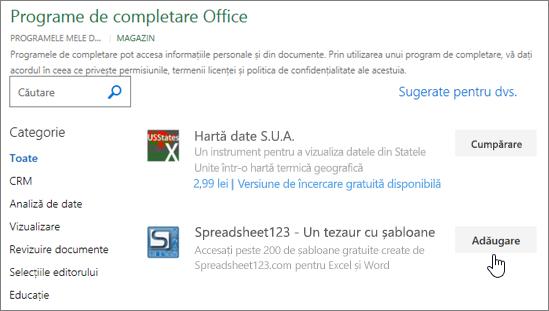 Captură de ecran afișează pagina de completare Office în care puteți selecta sau căutați pentru un program de completare Excel.