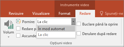 Afișează opțiunile video PowerPoint