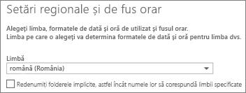 Setați limba Outlook Web App și decideți dacă doriți să redenumiți folderele