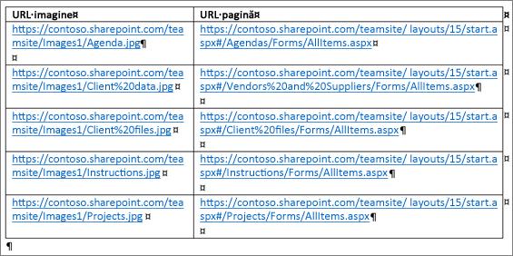 Un tabel care conține adresele URL ale imaginilor și adresele URL ale paginilor