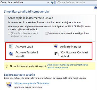 Caseta de dialog Centru de accesibilitate Windows, în care puteți alege tehnologiile de asistare