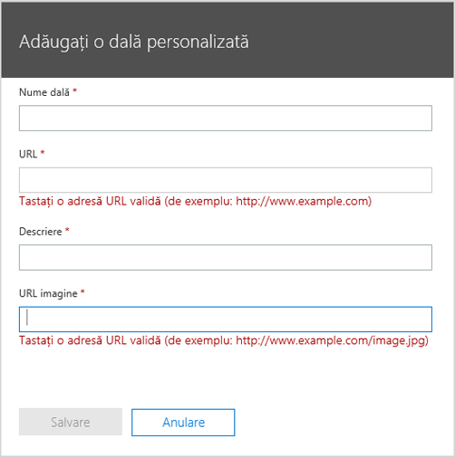 Adăugarea detaliilor despre o dală personalizată