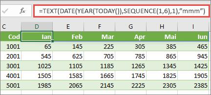 Worsksheet Excel cu funcția SEQUENCE