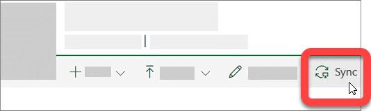 Captură de ecran afișând butonul sincronizare într-o bibliotecă SharePoint.