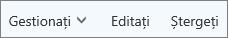 Pe bara de comenzi Outllook.com, gestionarea, editarea sau ștergerea persoanelor de contact