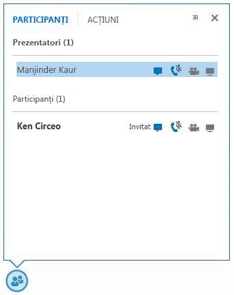 captură de ecran a pictogramelor de lângă numele unui participant pentru a indica disponibilitatea capacităților IM, audio, video și de partajare