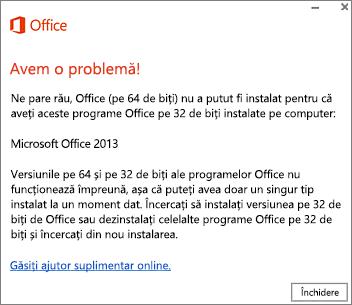 Mesajul de eroare Nu puteți instala Office pe 32 de biți peste Office pe 64 de biți