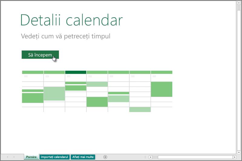 Șablonul Detalii calendar
