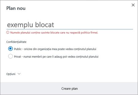 Captură de ecran: Gruparea politica de denumire - creați noi exemplu plan blocate