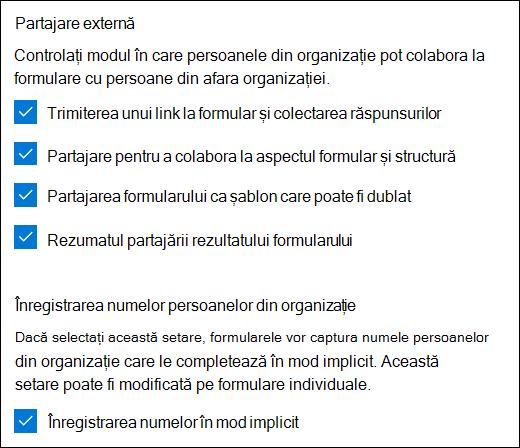 Setarea Microsoft Forms Collaboration