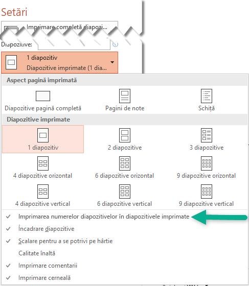 Imprimați numere de diapozitiv în diapozitive imprimate.