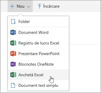 Meniul Nou, comanda Anchetă Excel