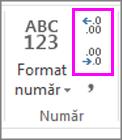 măriți sau micșorați numărul de zecimale la formatarea numerelor