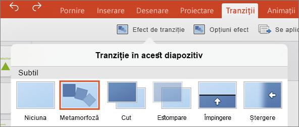 Afișează tranziții Morph în meniul de tranziție în PowerPoint 2016 pentru iPad