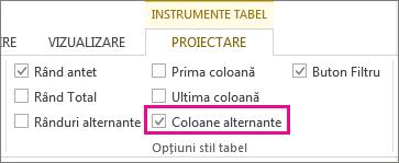 Caseta Coloane alternante din fila Proiectare - Instrumente tabel
