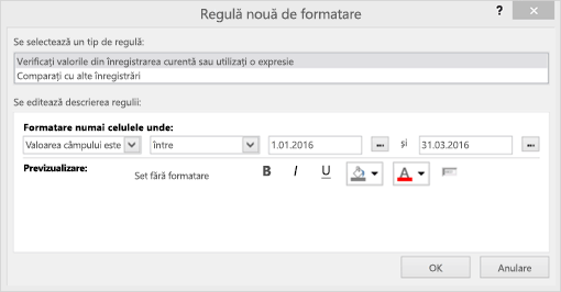 Captură de ecran a interfeței regulă nouă de formatare