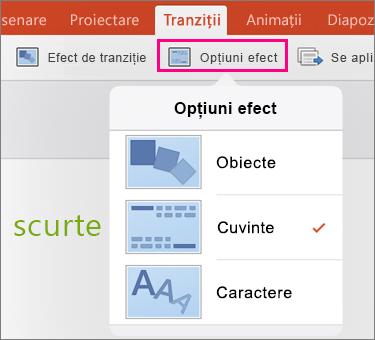 Afișează opțiuni efect pentru Morph tranziția în PowerPoint 2016 pentru iPad
