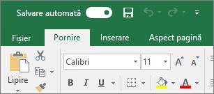 Bara de titlu din Excel afișând comutarea la Salvare automată