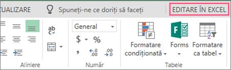 Butonul Editare în Excel