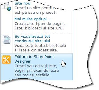 SharePoint Designer 2010 în meniul Acțiuni site