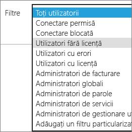 Selectați utilizatorii fără licență din lista de filtre.