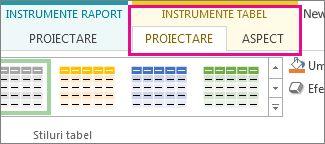 Grupul Stiluri tabel din fila Proiectare - Instrumente tabel