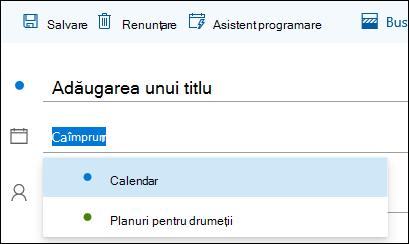 Captură de ecran cu numele calendarului în formularul cu detalii despre eveniment
