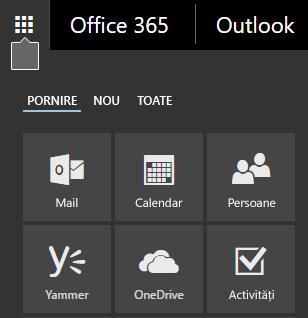 Lansatorul de aplicații Office 365, afișând dalele Mail, Calendar, Persoane, Yammer și OneDrive