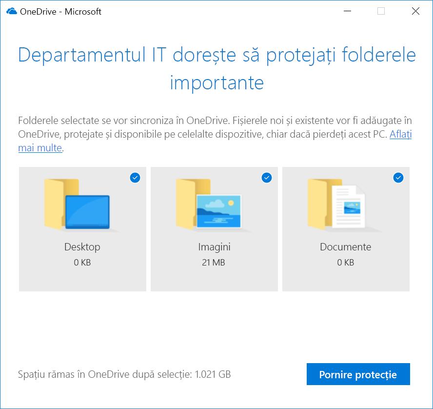 Folderul OneDrive protecție panou de pornire