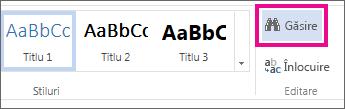 Butonul Găsire din Vizualizarea editare