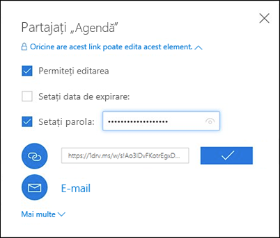 Captură de ecran cu opțiunea Obțineți un link din caseta de dialog Partajare din OneDrive