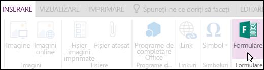 Opțiunea Inserare formulare din OneNote Online