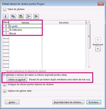 Imagine cu caseta de dialog Editare tabel de căutare