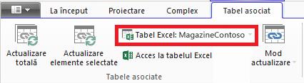 Panglică cu legătură, indicând tabelul Excel