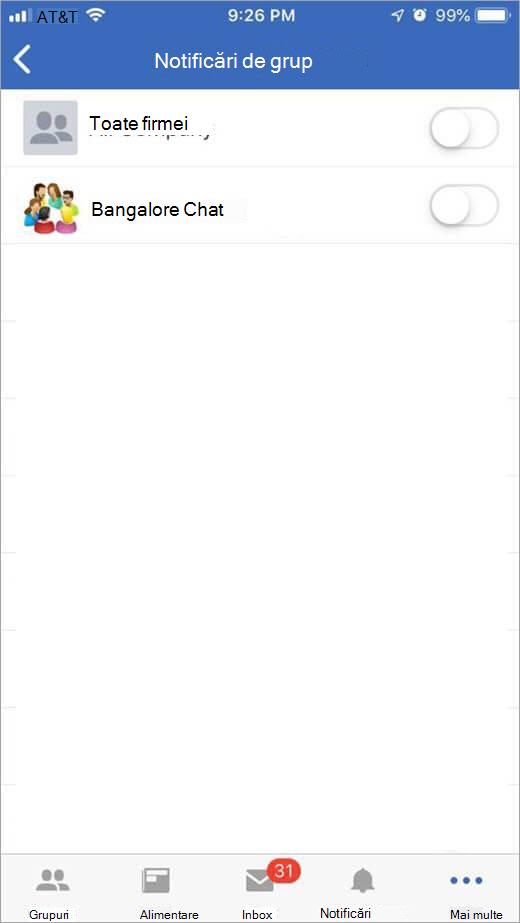 Pagina Yammer iOS pentru selectarea grupurilor pentru a primi notificări de la