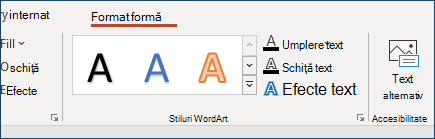 Grupul stiluri WordArt