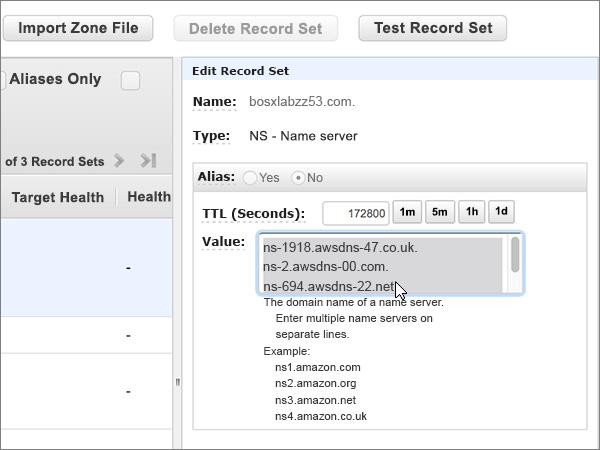 Selectați și șterge toate serverele de nume în caseta valoare