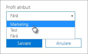 În panoul Dispozitiv, selectați un Profil atribuit ca să îl aplicați.