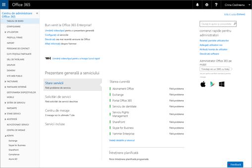 Un exemplu cu modul în care arată centrul de administrare Office 365 atunci când aveți un plan Skype for Business Online.