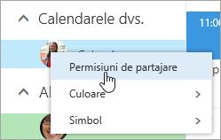 Captură de ecran a meniului contextual pentru Calendarul dvs., cu Permisiuni de partajare selectat.