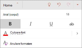 Meniul font din PowerPoint pentru Android.
